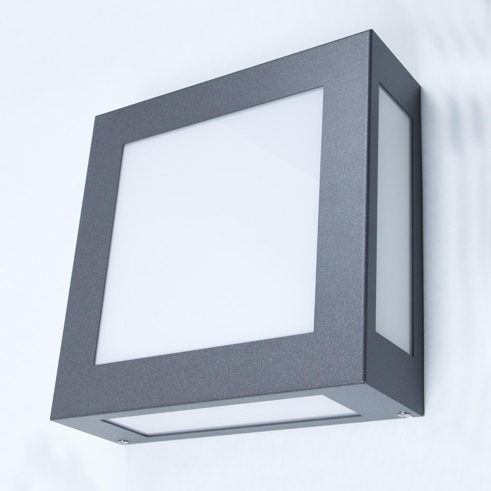 Vierkante buitenwandlamp Legendo, antr., z. sensor