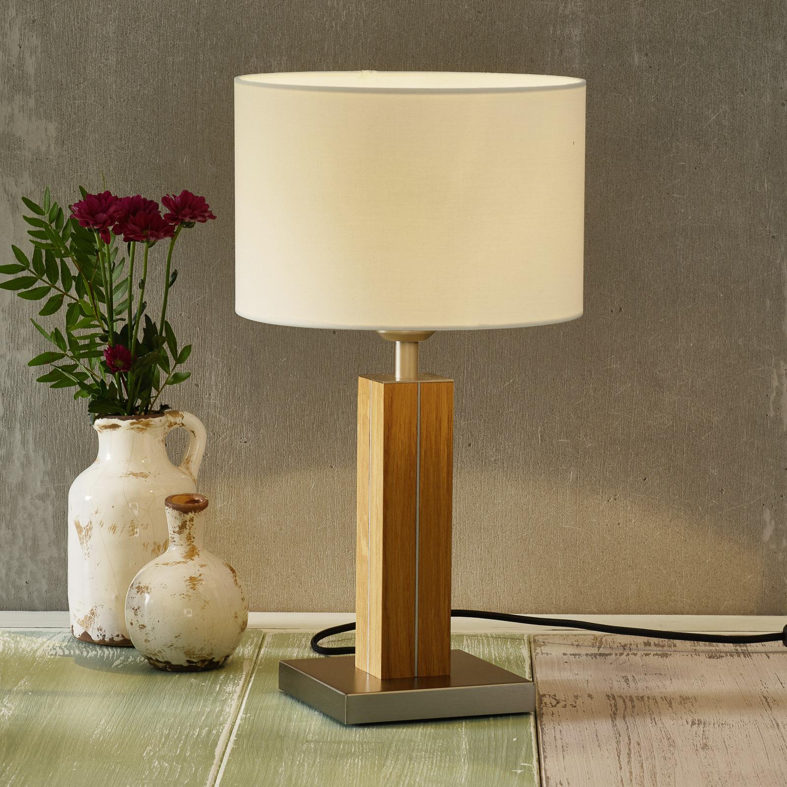 HerzBlut Dana tafellamp met houten voet eiken