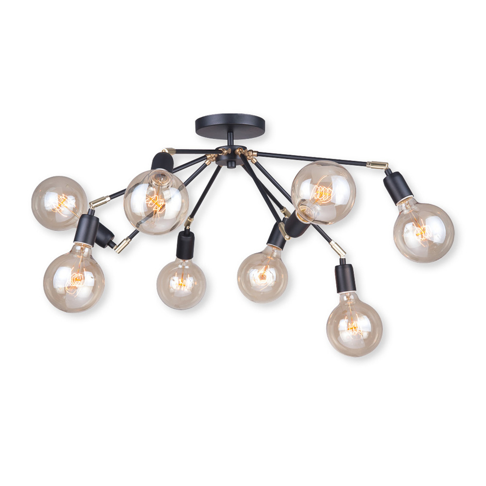 Plafondlamp Stik in zwart, 8-lamps