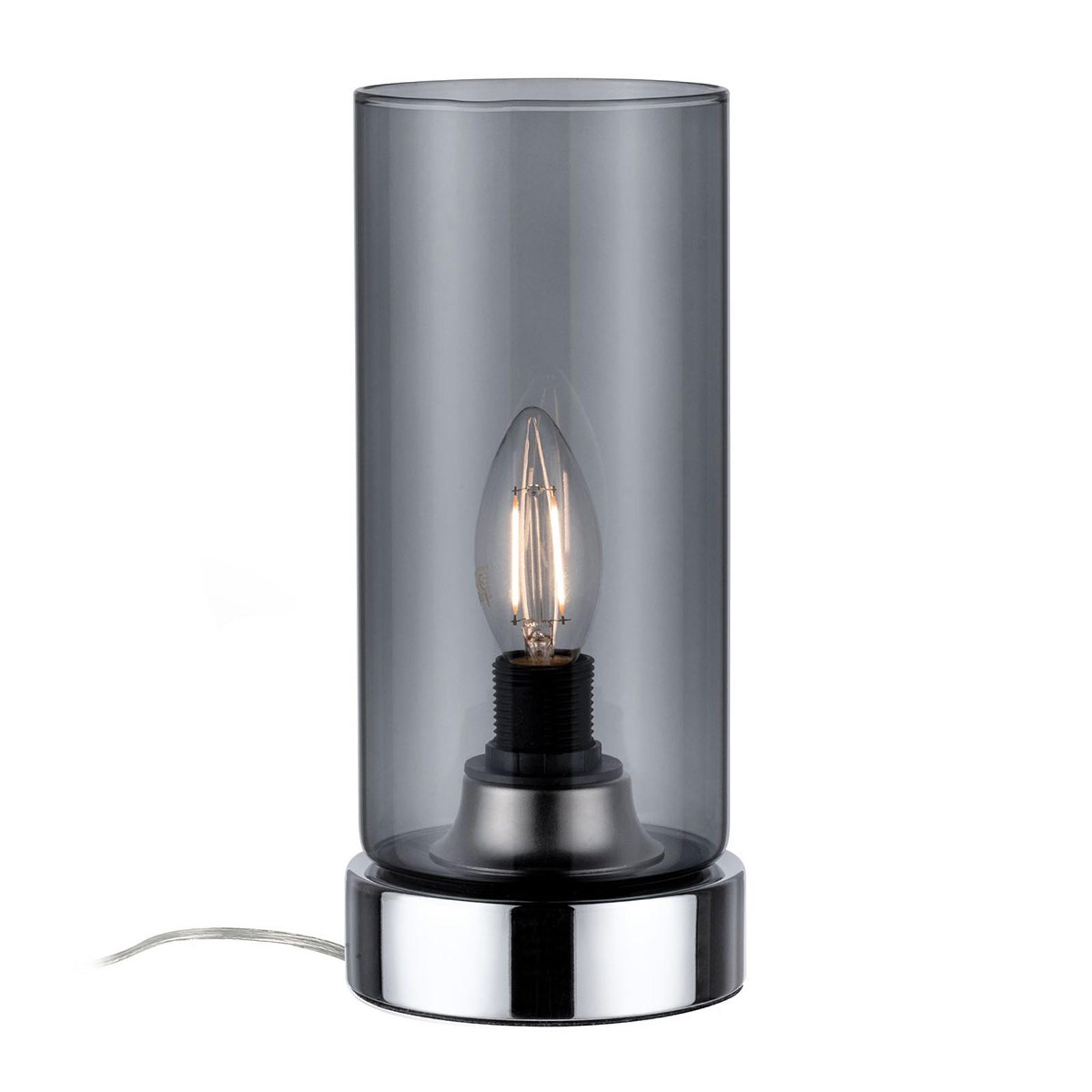 Paulmann tafellamp Pinja chroom/rookgrijs