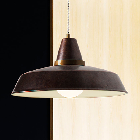 Lámpara colgante Vintage marrón oxidado 1 bombilla