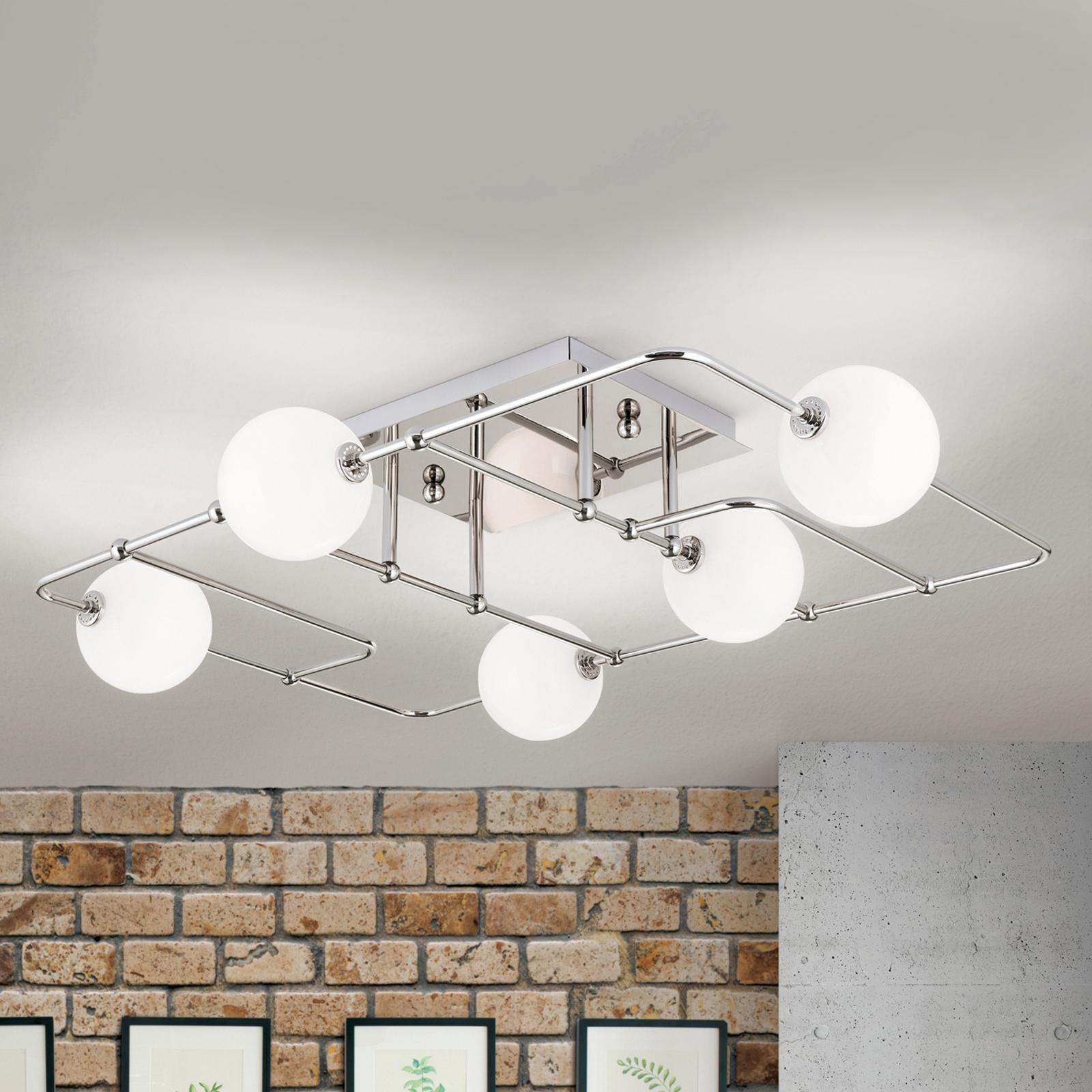 Plafonnier LED Pipes avec 5 sphères verre, nickel
