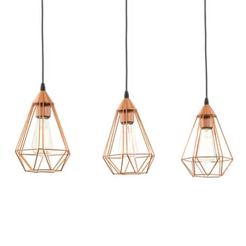 3-lichts vintage koperen hanglamp Tarbes