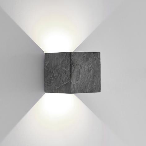 Lucande applique LED da esterni Naja, look ardesia