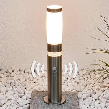 Sokkellampe Binka av rustfritt stål med sensor