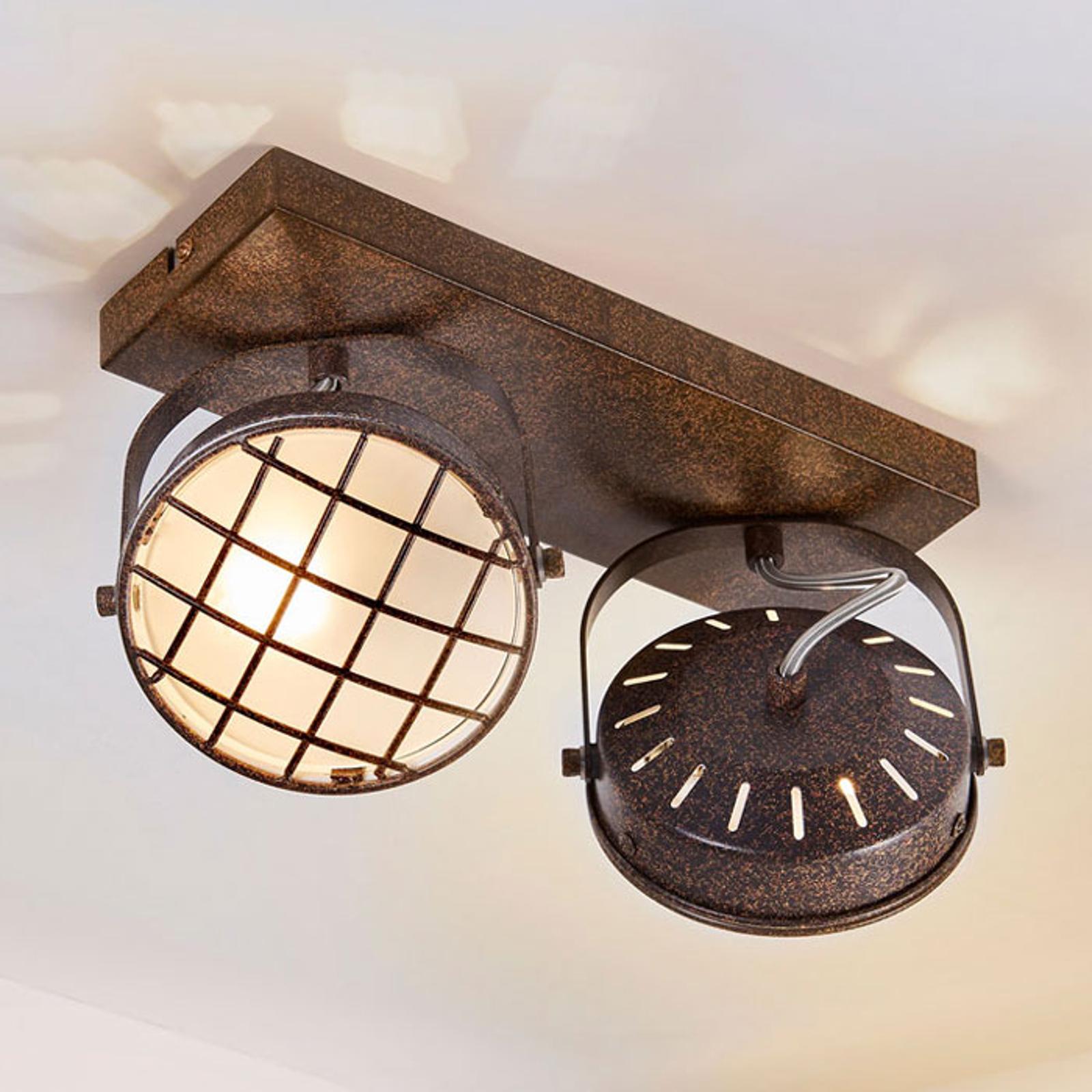 Rostbrun LED-taklampa Tamin, två ljuskällor