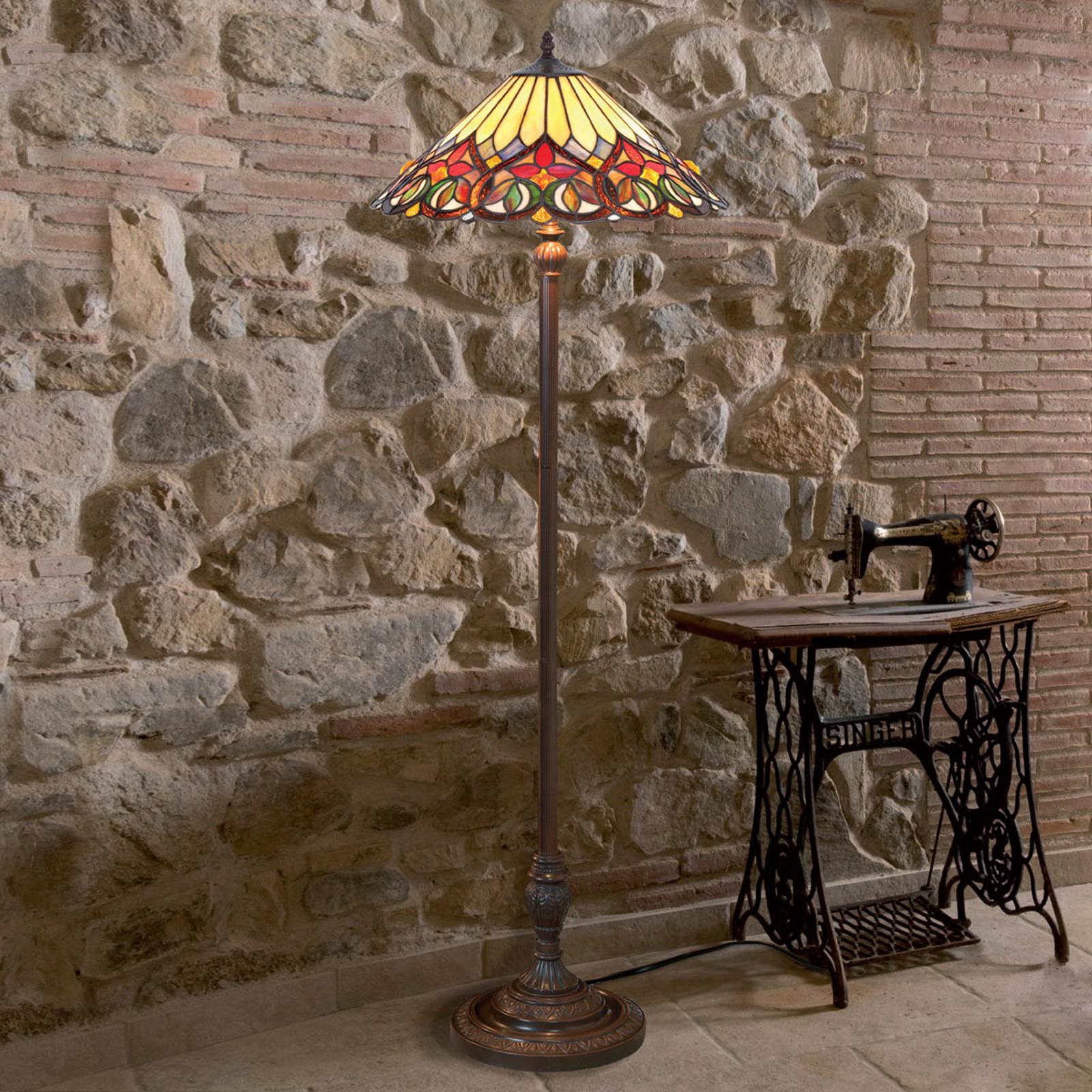 Lámpara de suelo Anni, estilo Tiffany