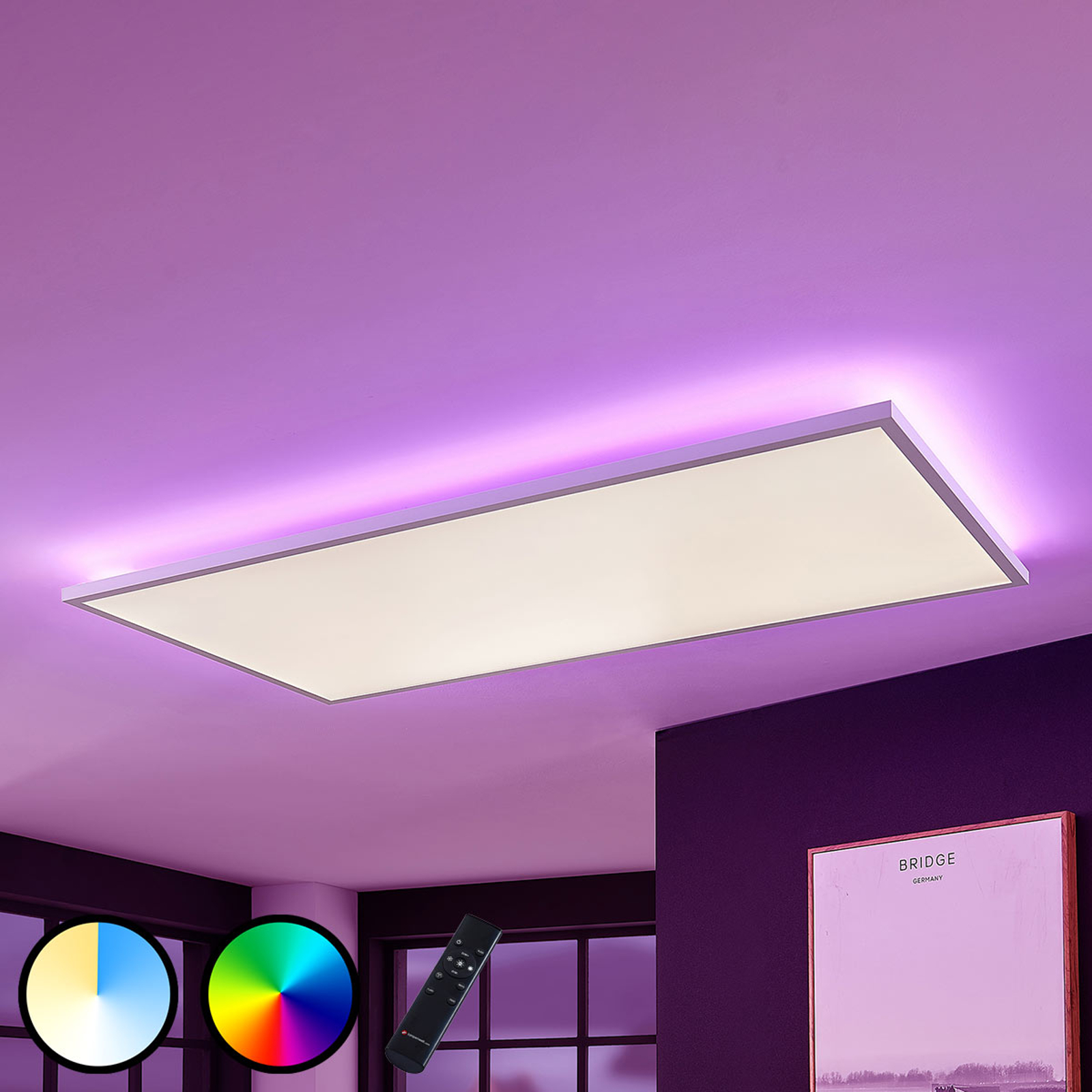 Panneau LED Brenda CCT télécommande, 59,5x119,5cm