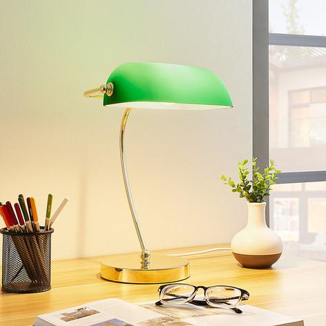 Messingfarget bordlampe Selea, grønn glasskjerm