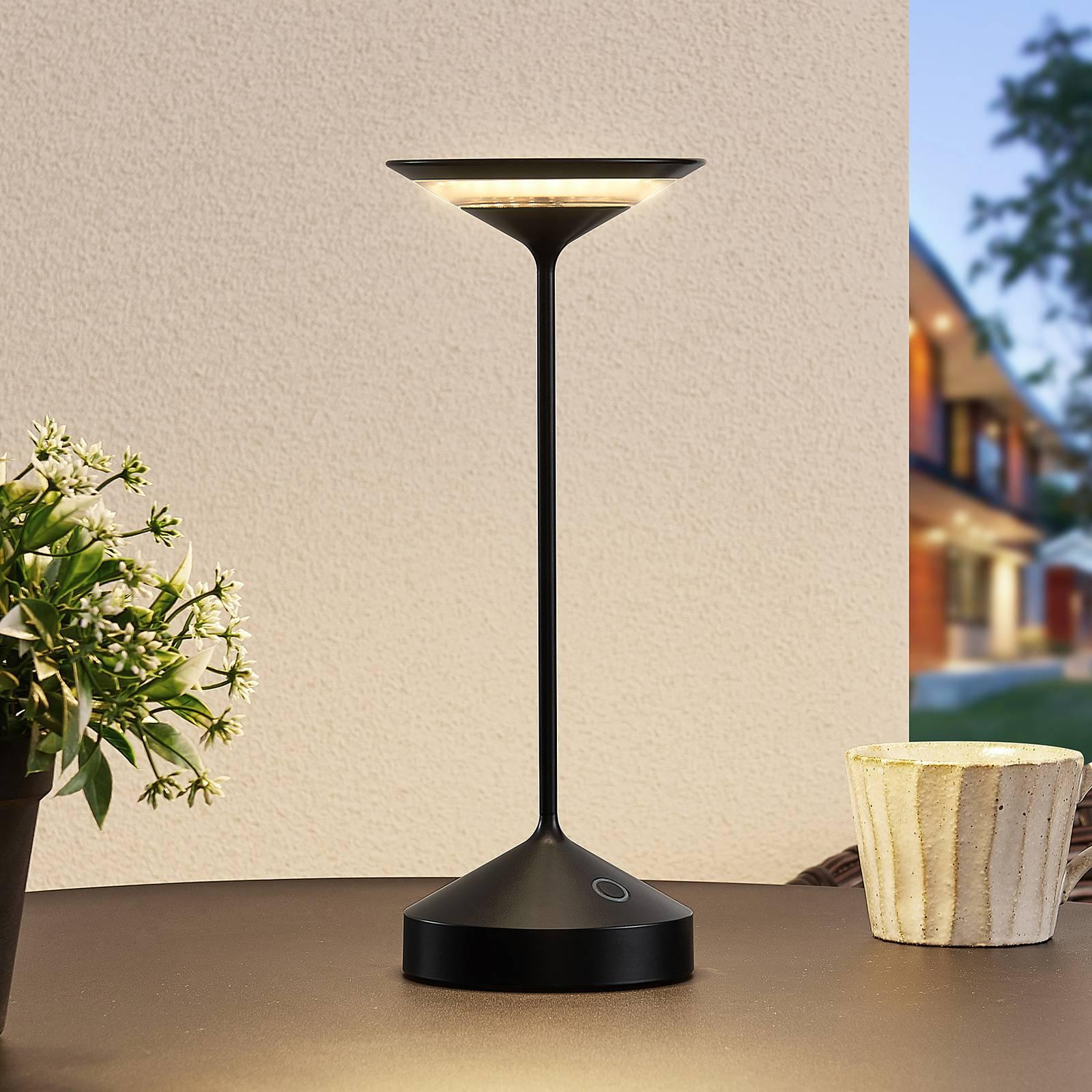 Lucande Raminum lampe à poser LED extérieur, noire