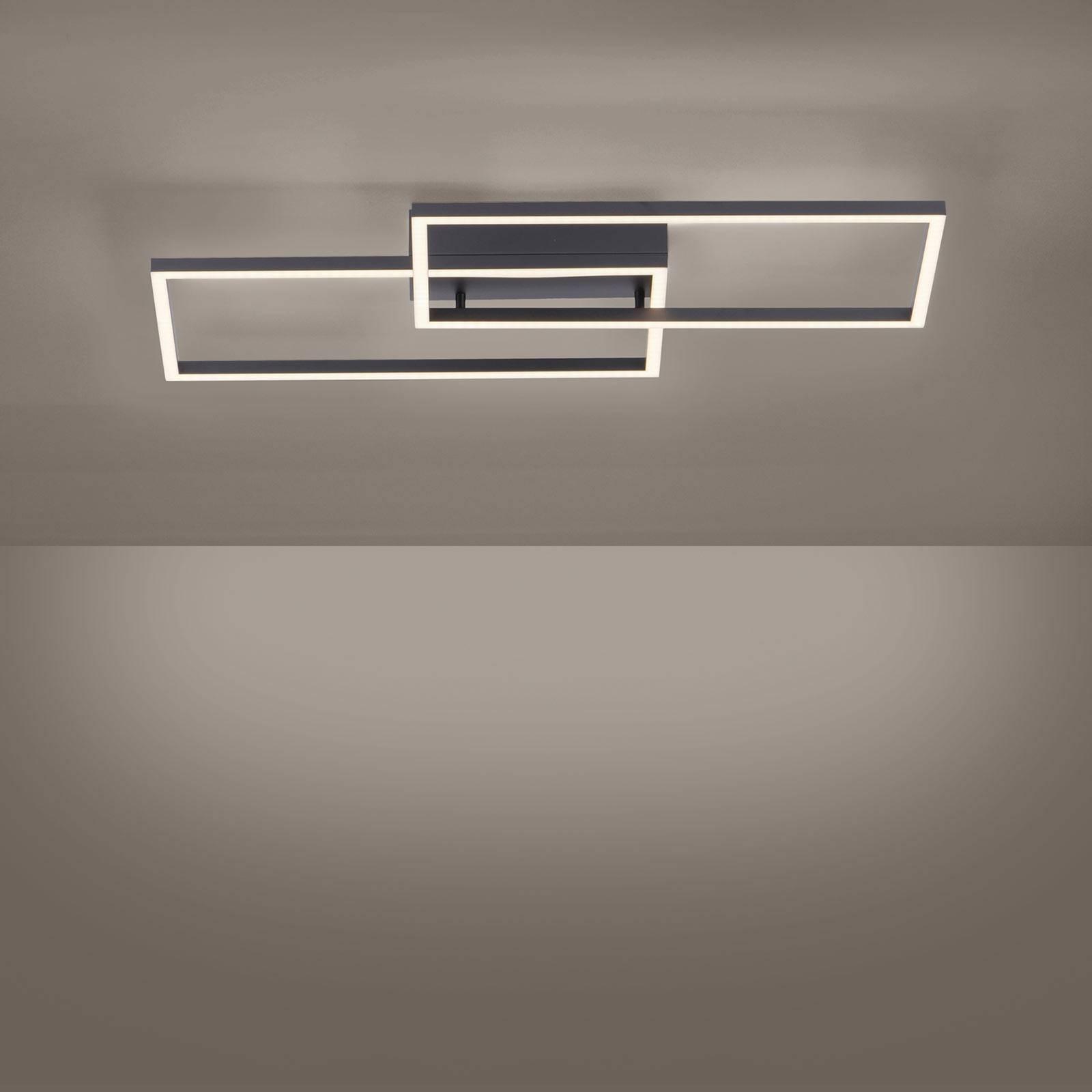 LED-Deckenleuchte Iven, schwarz 2-flammig Rechteck