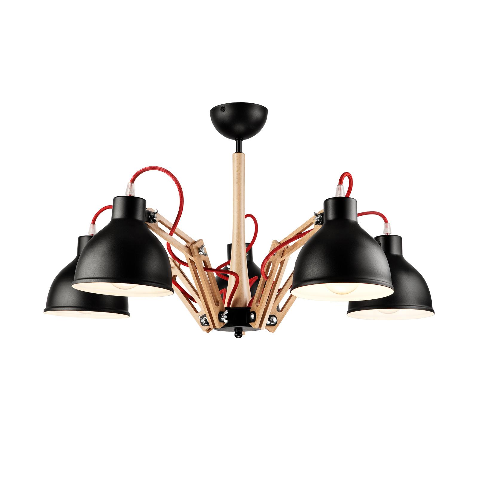 Skansen loftlampe, 5 lyskilder, justerbar, sort