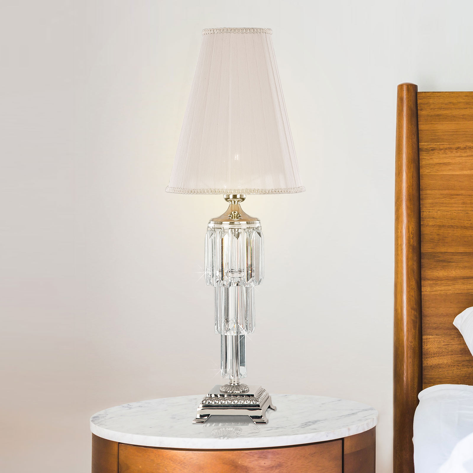 Tafellamp Sevilla met kristal, nikkel glanzend