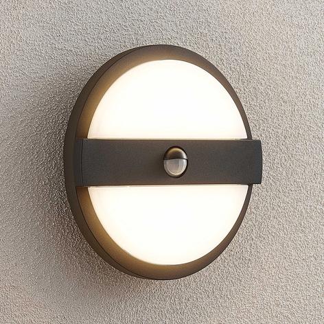 Lucande Gylfi LED-Außenwandleuchte rund mit Sensor