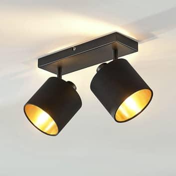 Stoffen plafondlamp Vasilia zwart-goud, 2-lamps