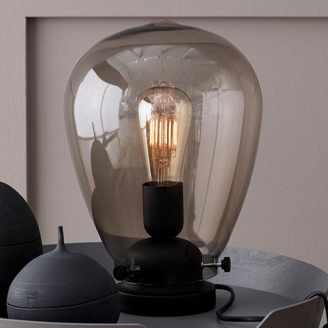 Tafellamp Dolores zwart frame, rookglas