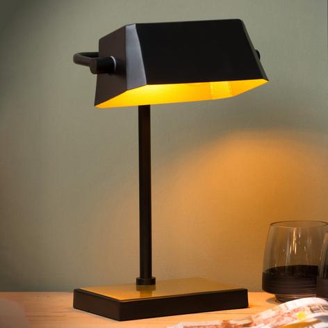 Lampada da tavolo Lance nero, oro satinato