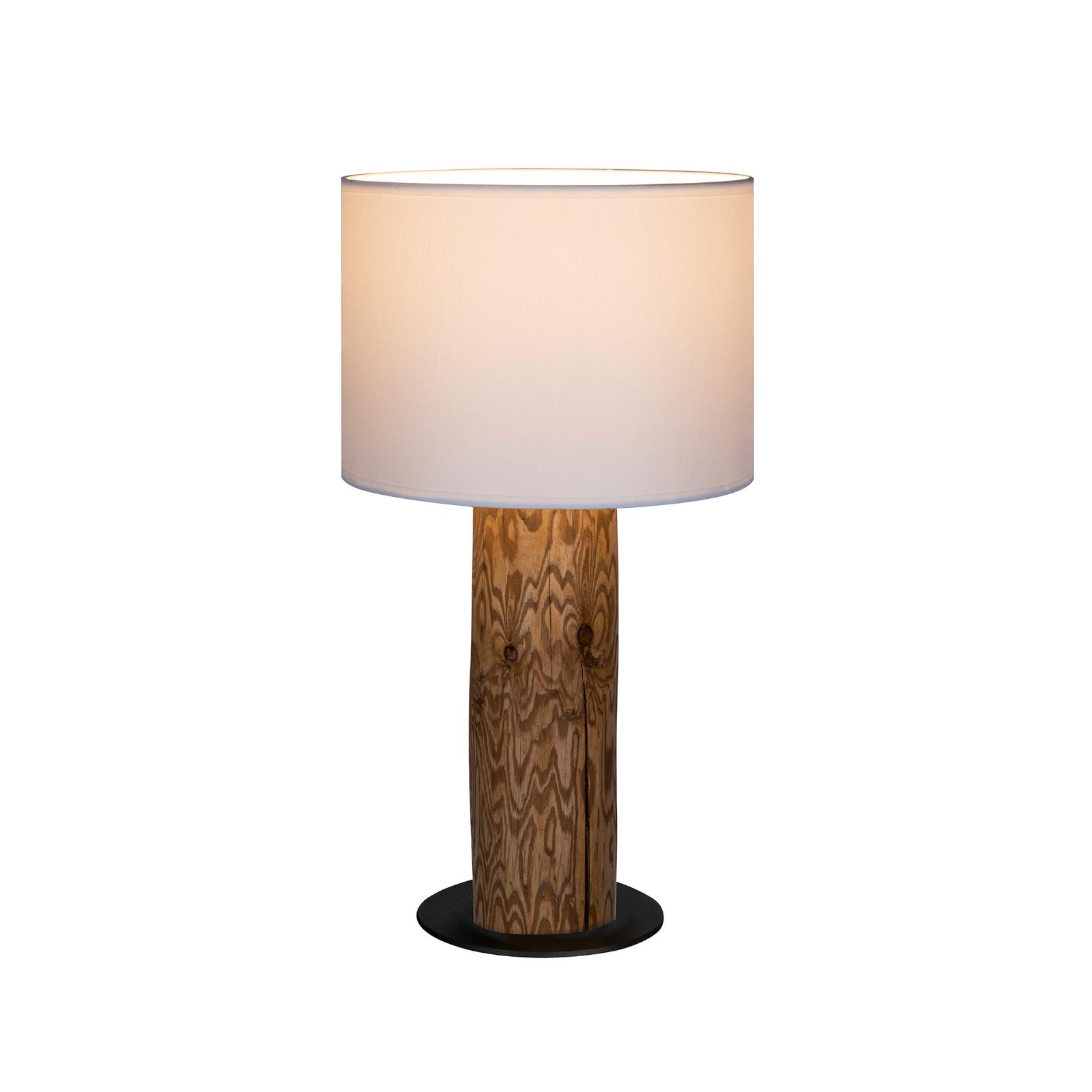 Pino Simpel bordlampe, hvid skærm, brun fod