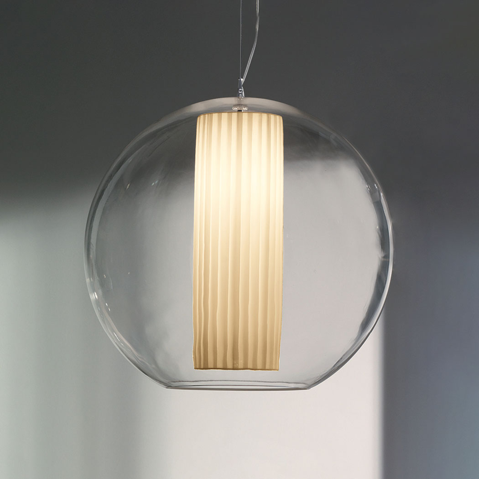 Modo Luce Bolla lampa wisząca tkanina biała Ø 50cm