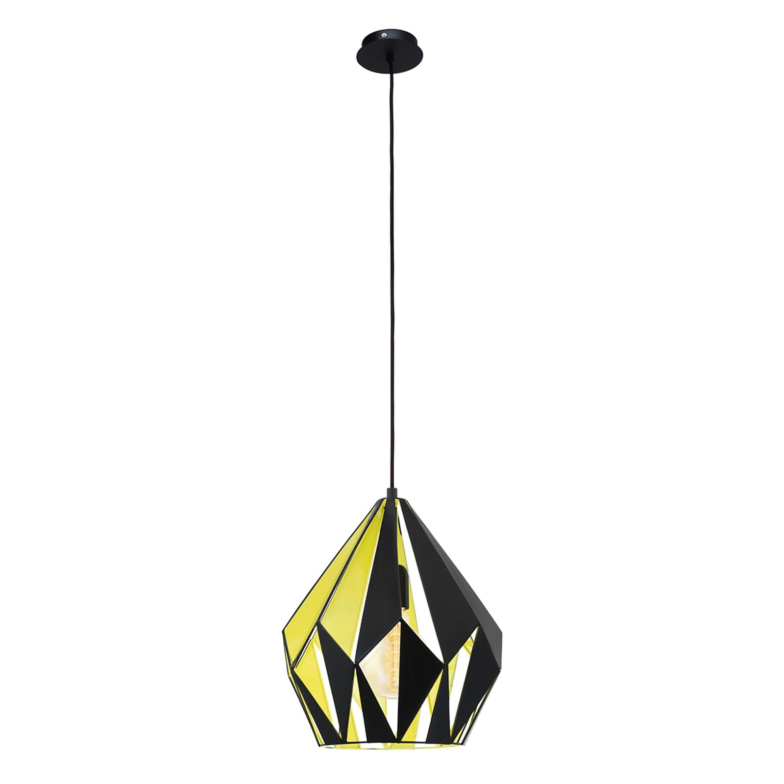 Závesná lampa Carlton čierno-žltá