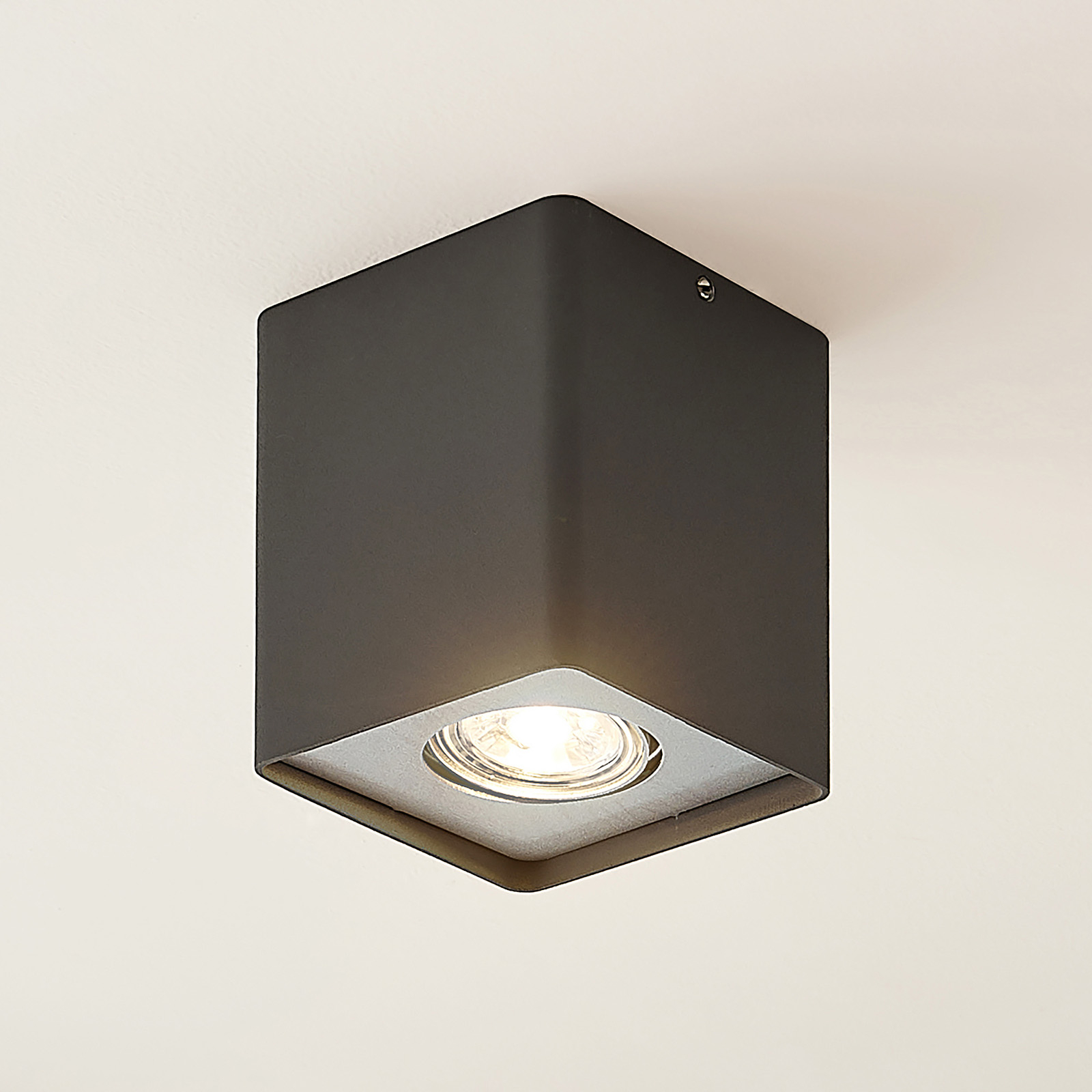 Lindby Laron GU10-downlight, kantet, grå