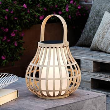 LED-sol-dekolampe Leo av bambus