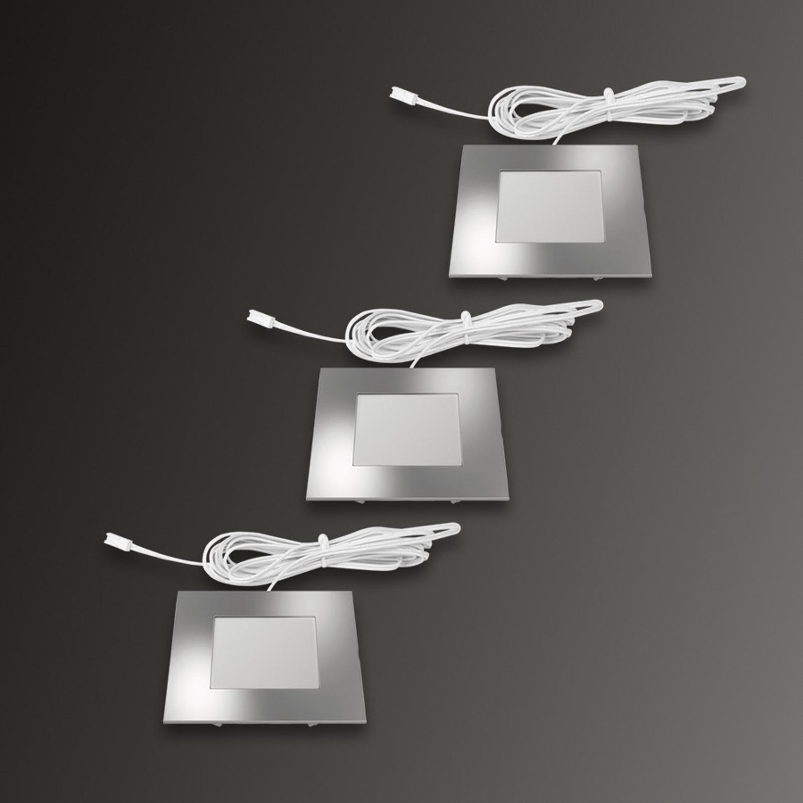 Lampe encastrée carrée FQ 68-LED par 3 blanc chaud