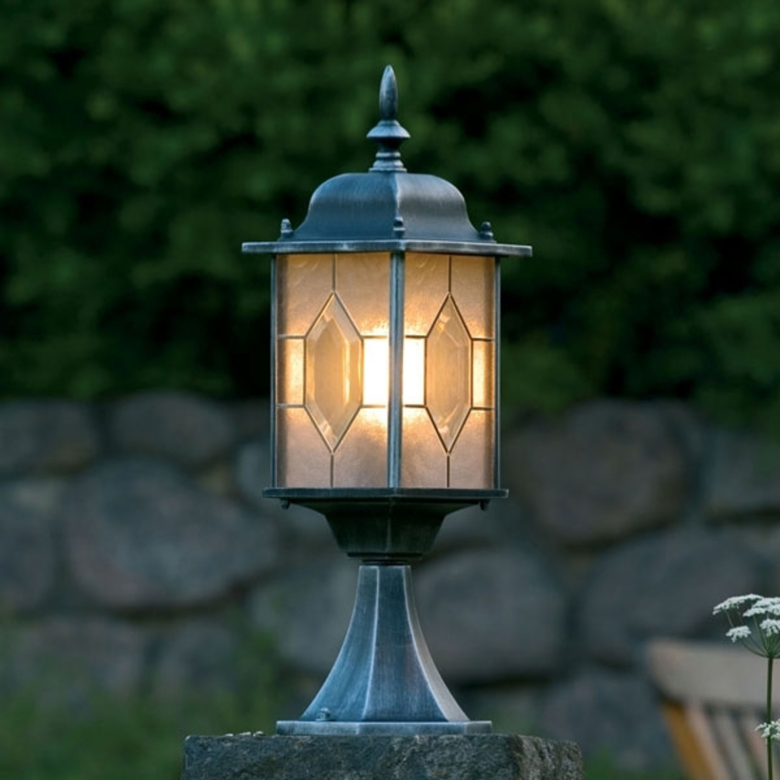 Świetna lampa na cokół MILANO czarny-srebrny