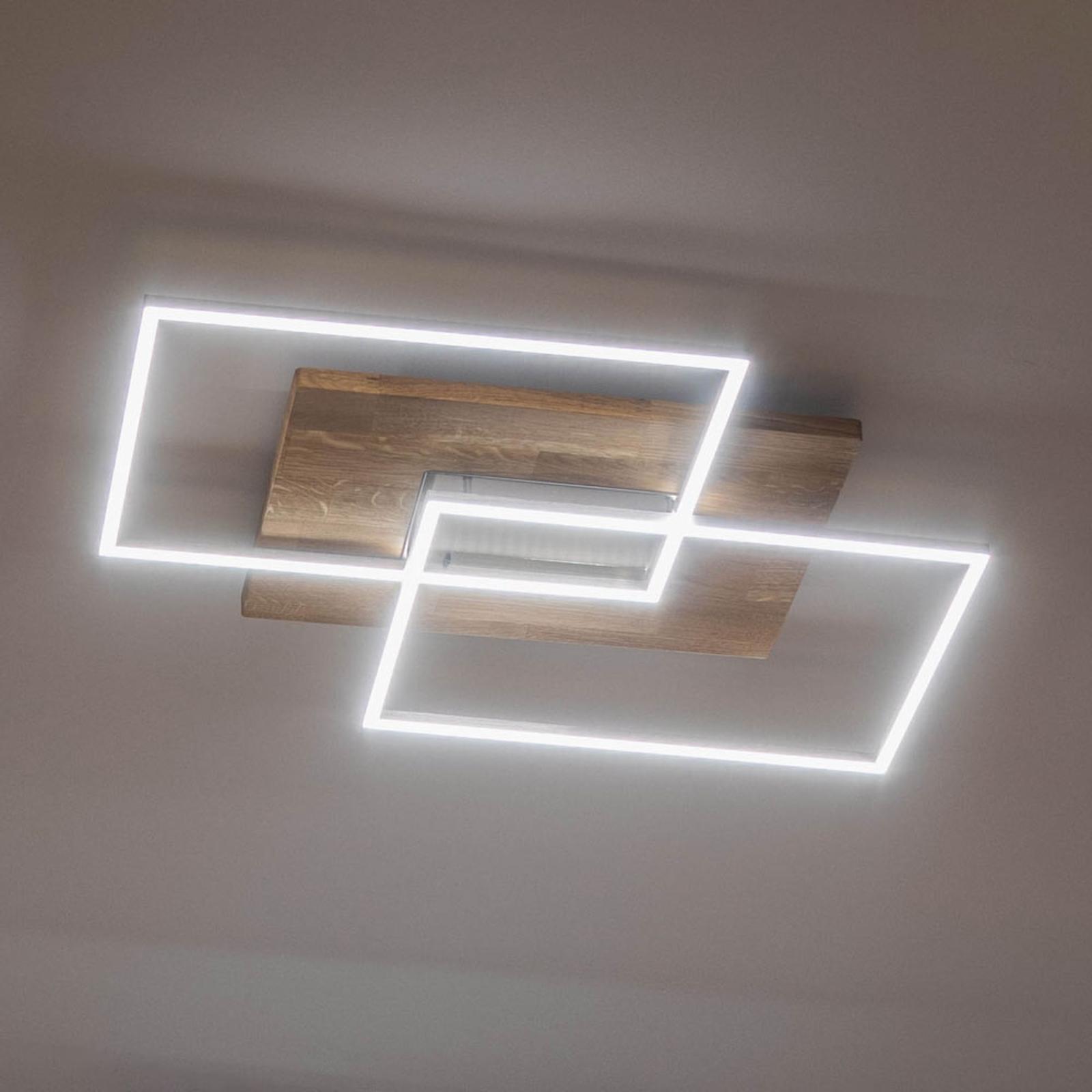 LED plafondlamp Panama L, eiken natuur
