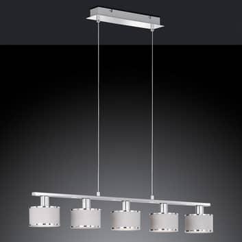 Hänglampa Chiara, 5 lampor, krom/grå