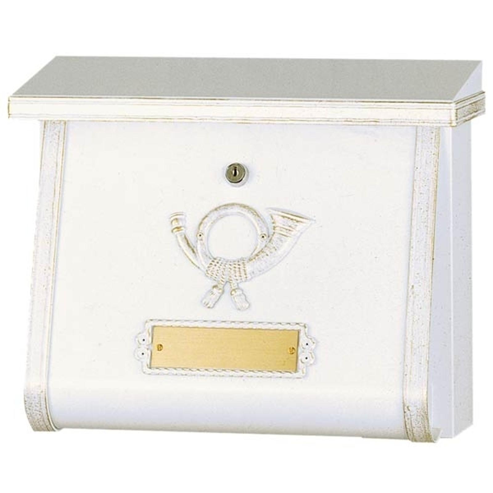 Produktové foto Heibi Umělecká poštovní schránka MULPI bílá-zlatá patina