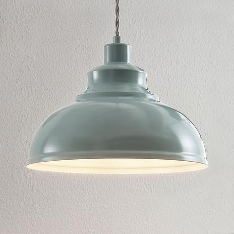 Vintage pendellampe Albertine, metall, lyseblå