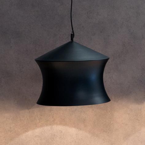 Lampada a sospensione nera Beat Waist in ottone