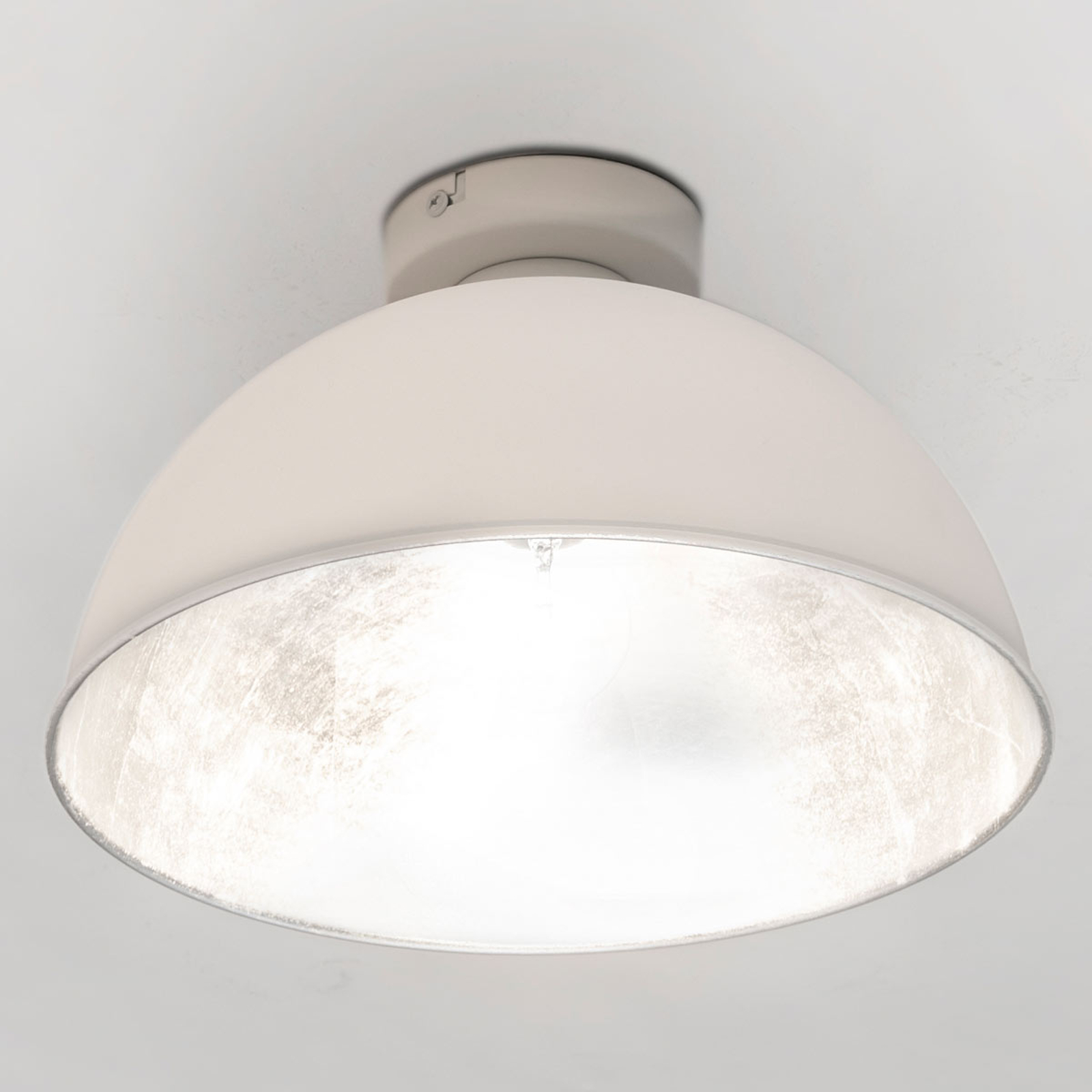 Industrialna lampa sufitowa JIMMY, biała/srebrna