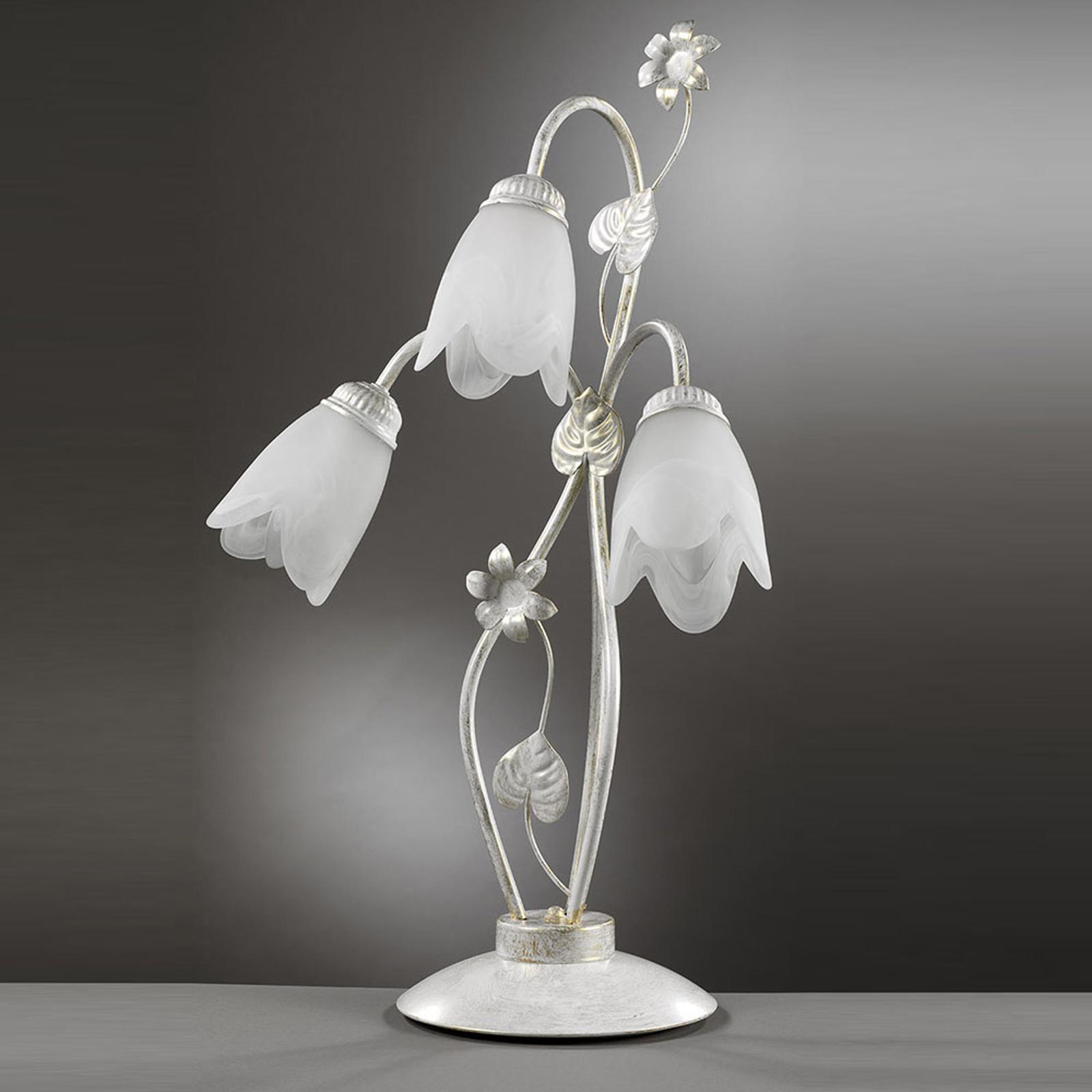 Florencka lampa stołowa Petunia, 3-punktowa
