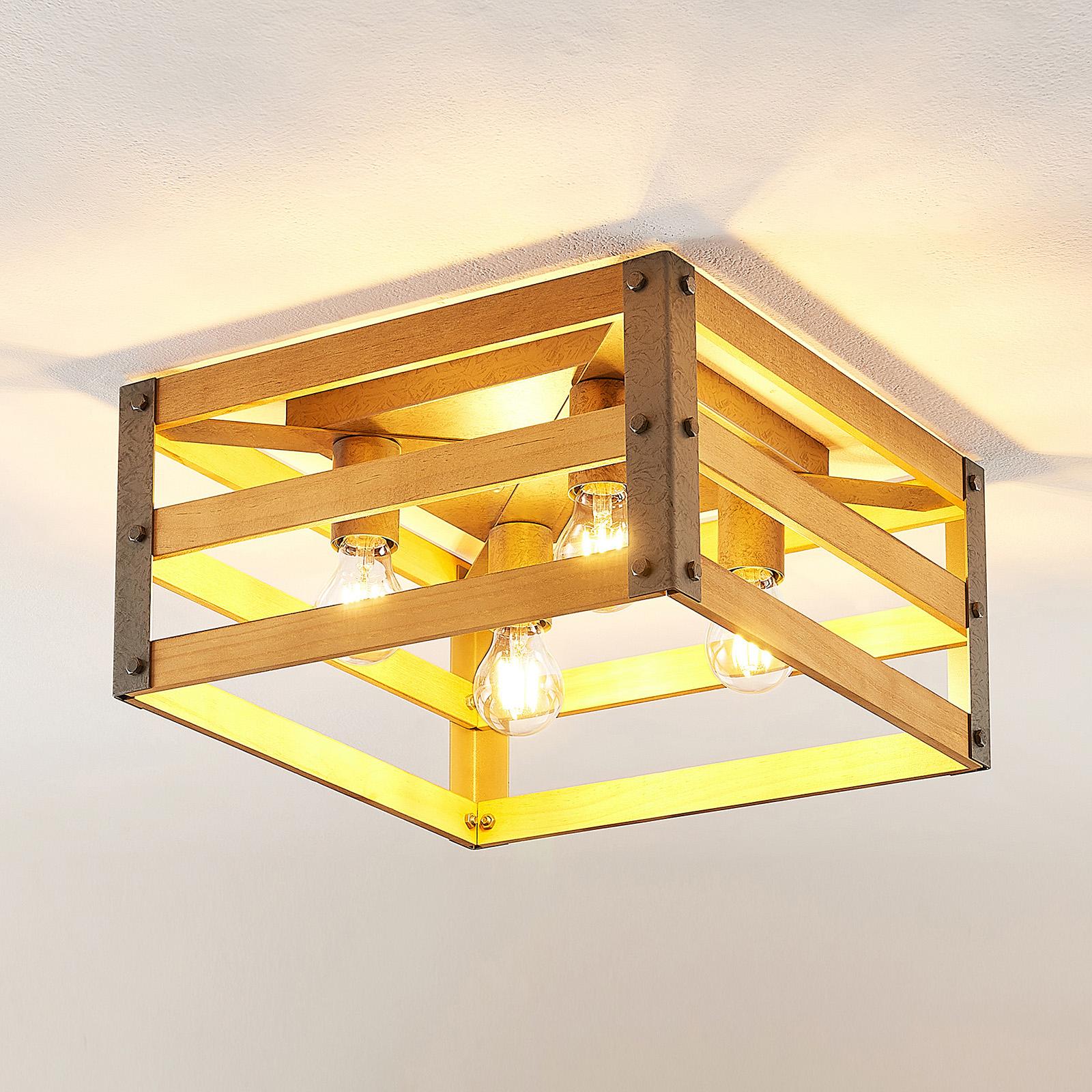 Lindby Jamina houten plafondlamp, 4-lamps
