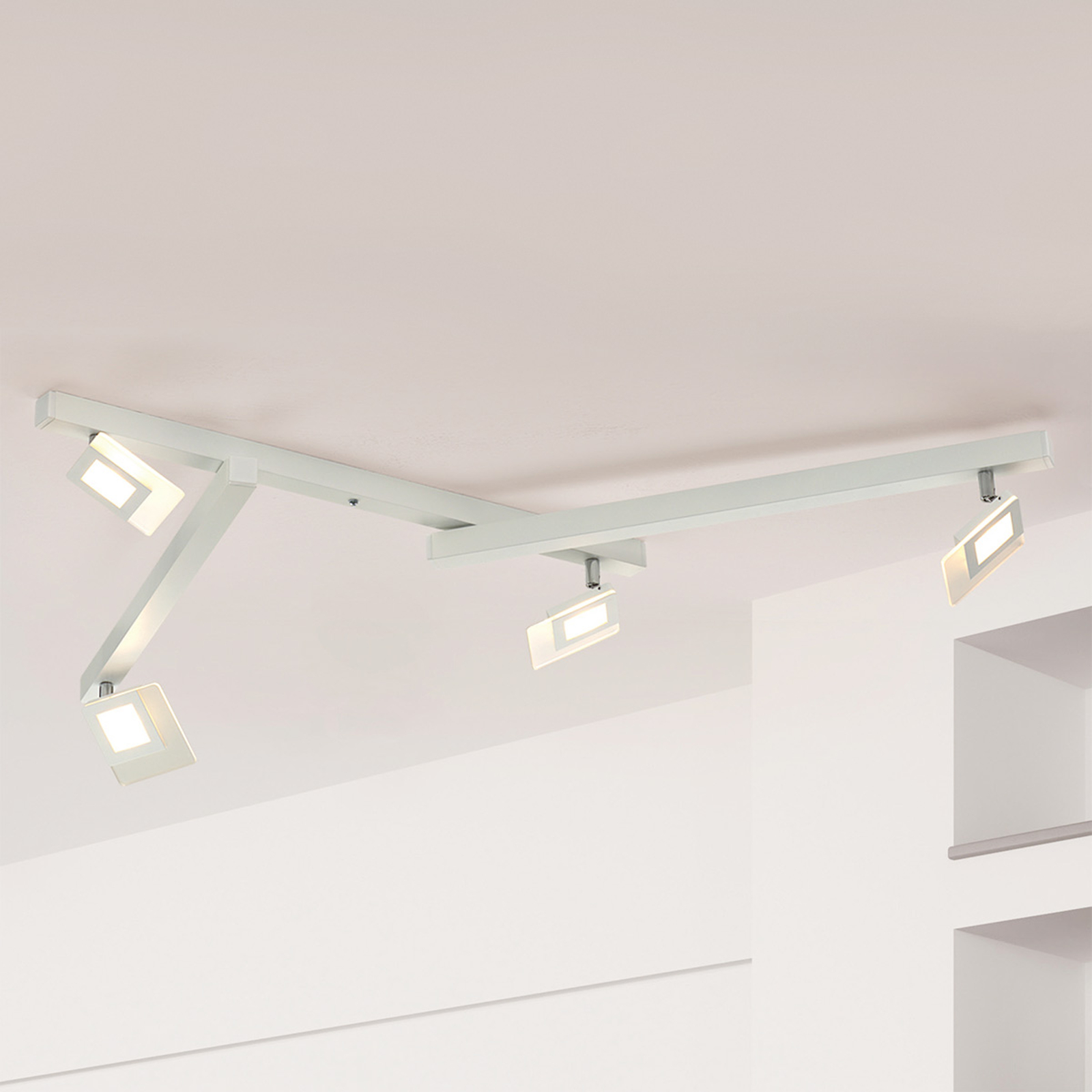 Vijflamps LED-plafondlamp Line in wit