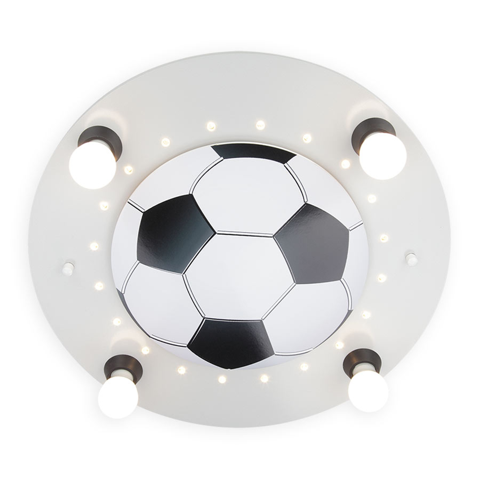 Plafondlamp Voetbal, 4-lamps, zilver-wit