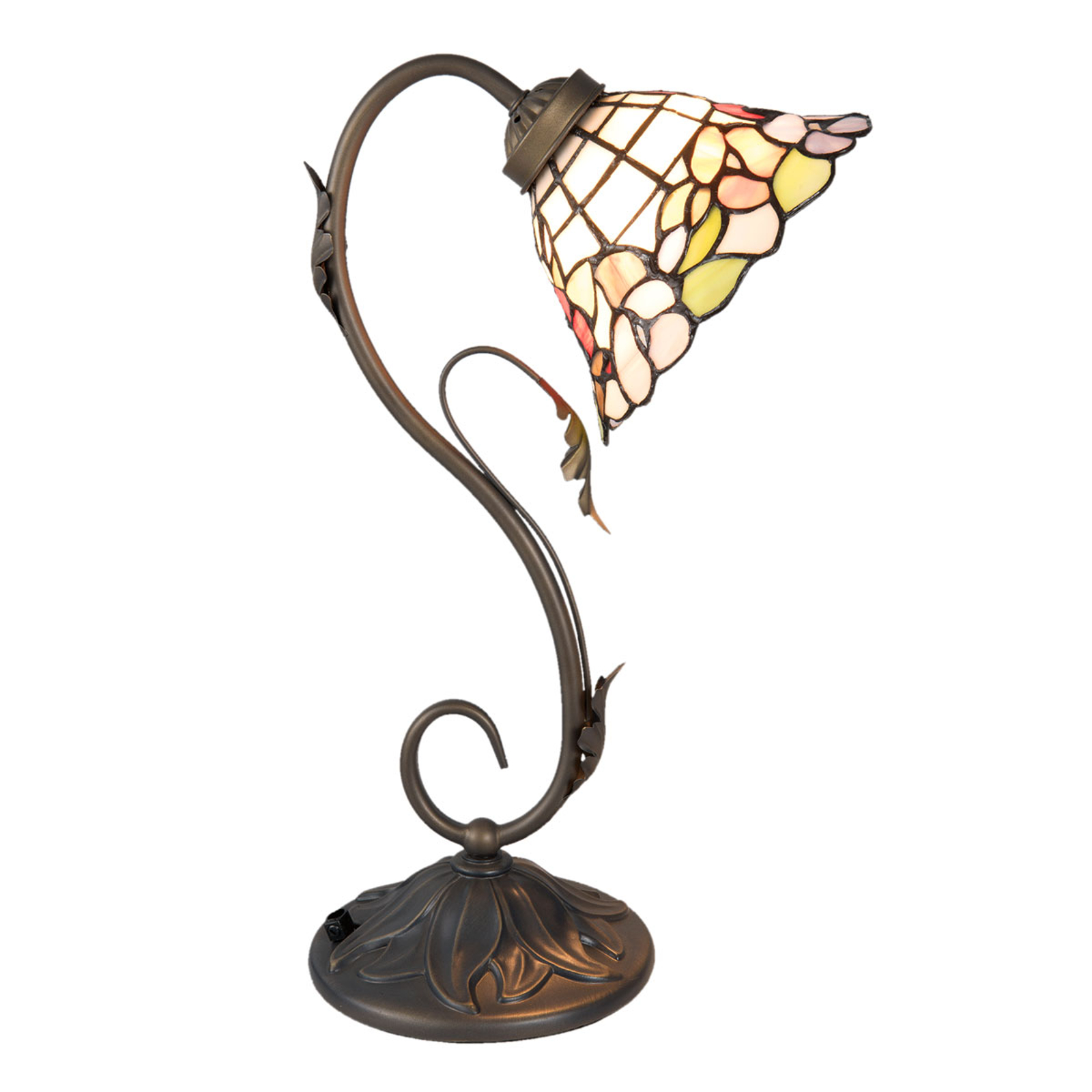 Tafellamp 5920, gebogen vorm, Tiffany-stijl