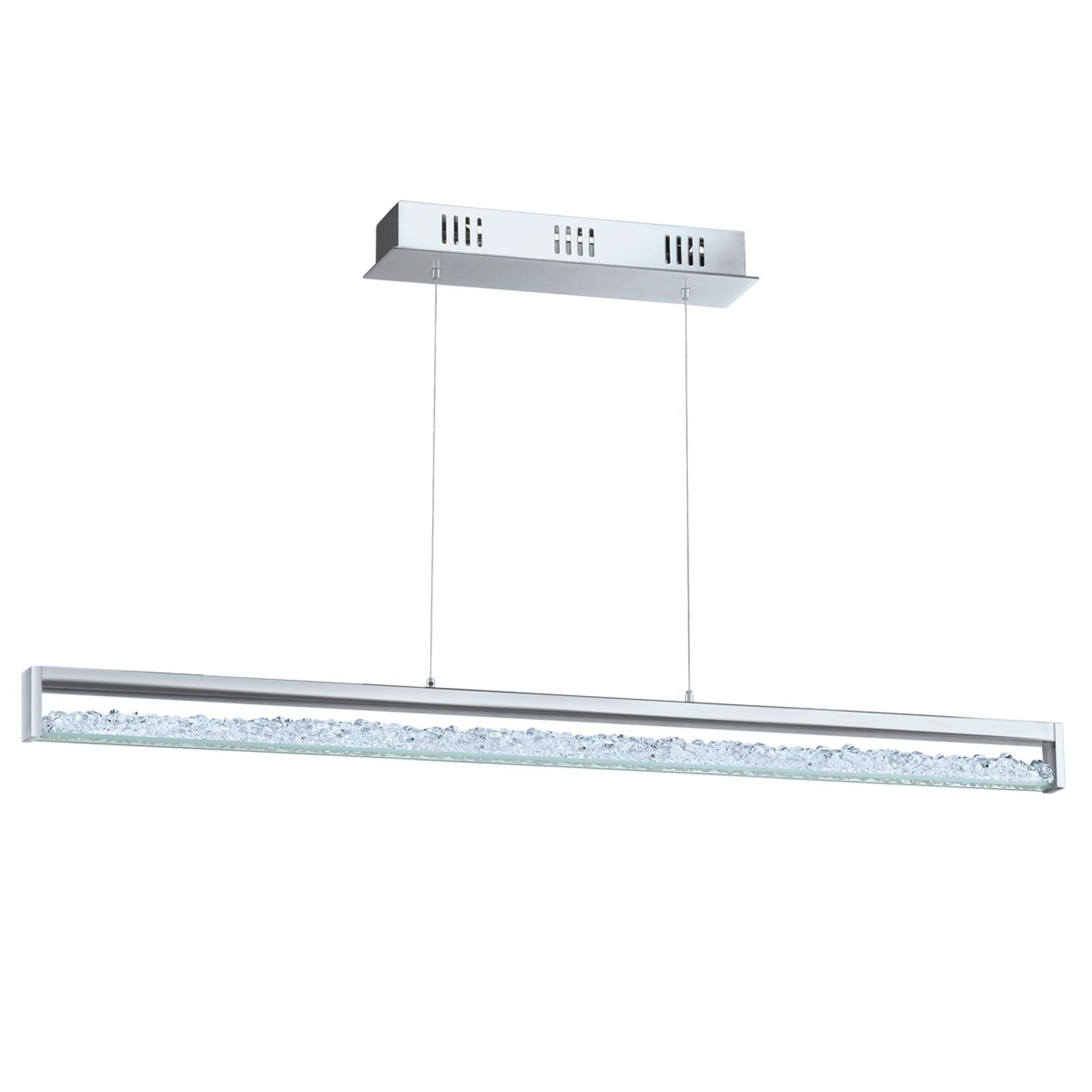 Suspension LED Cardito avec cristal Asfour longueu