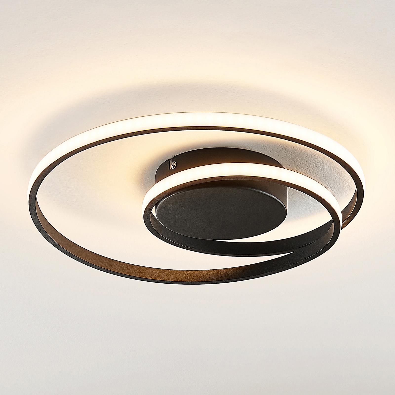 Lindby Kyron plafoniera LED nero satinato