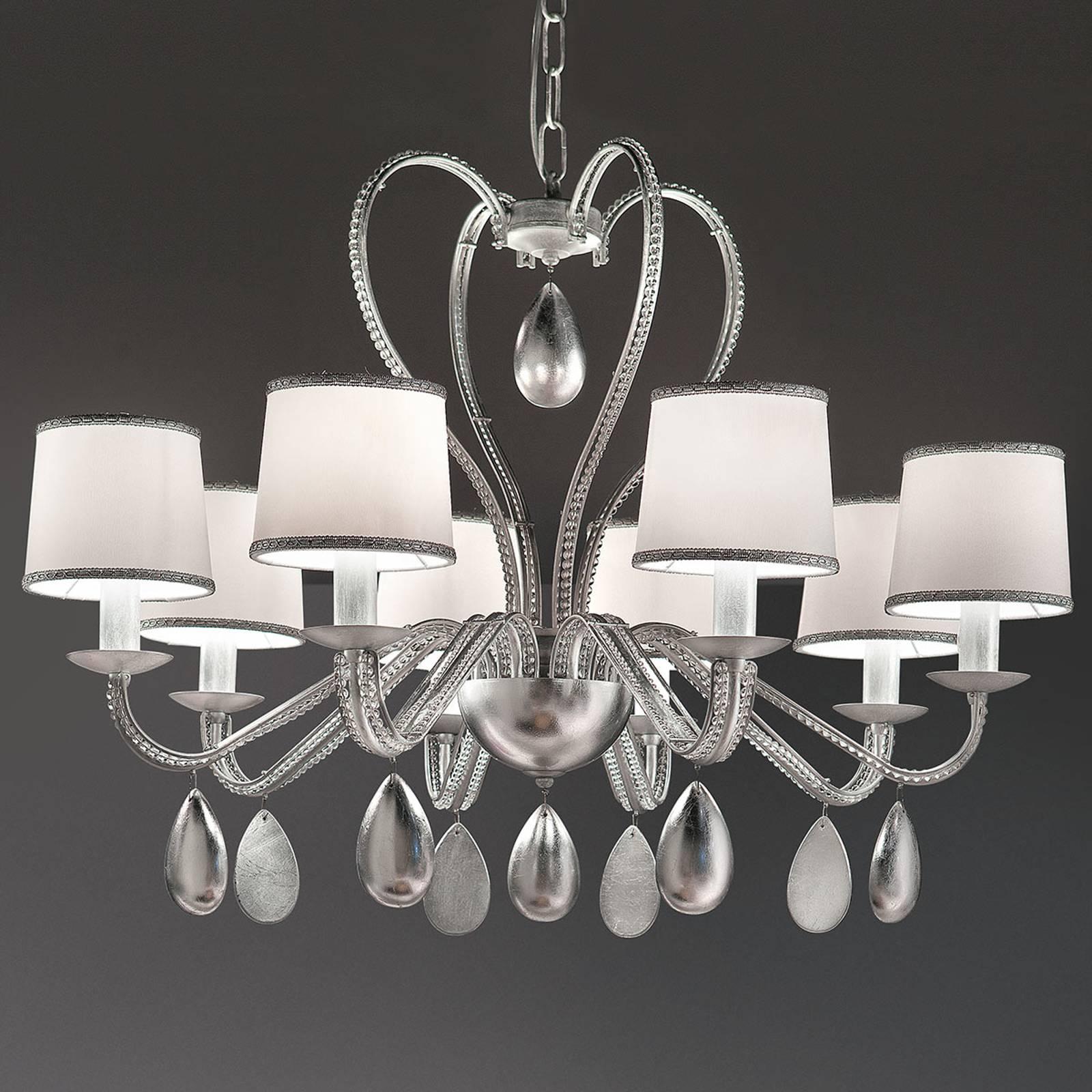 8-lamps kroonluchter Anouk zilver