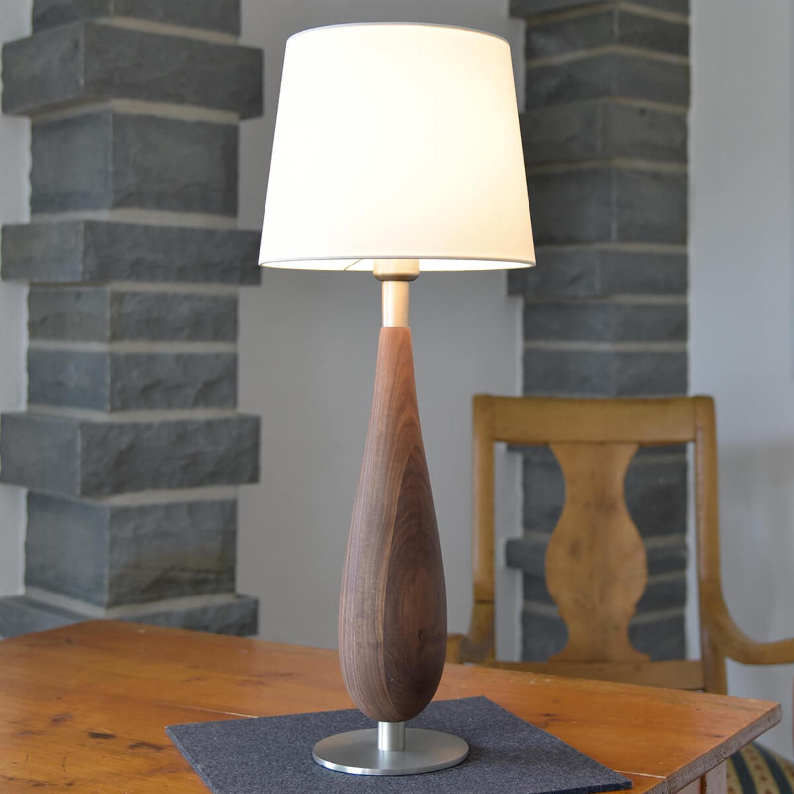 Tafellamp Lara met houten voet & stoffen kap, 61cm
