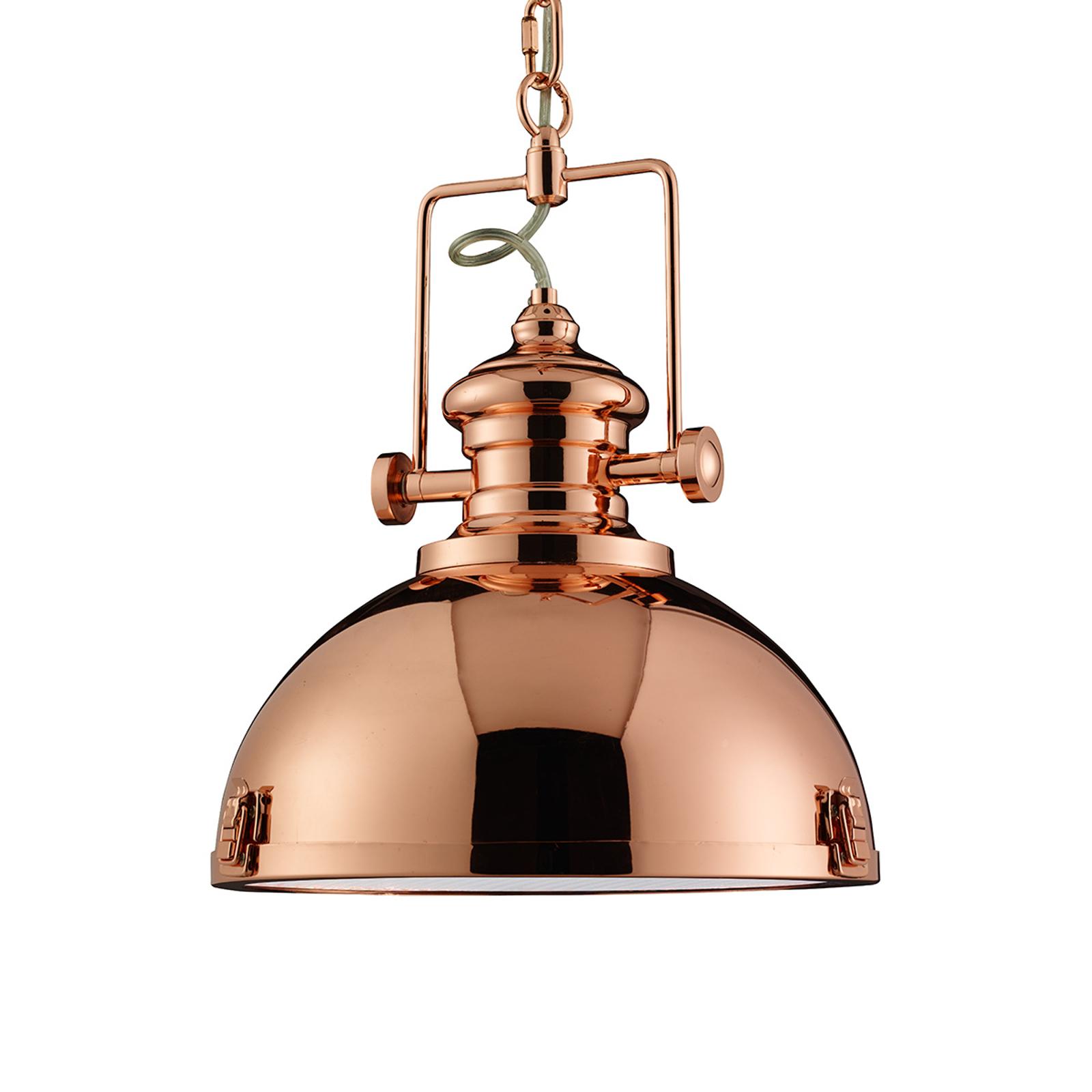 Kupferfarbene Hängeleuchte Metal im Industriedesig