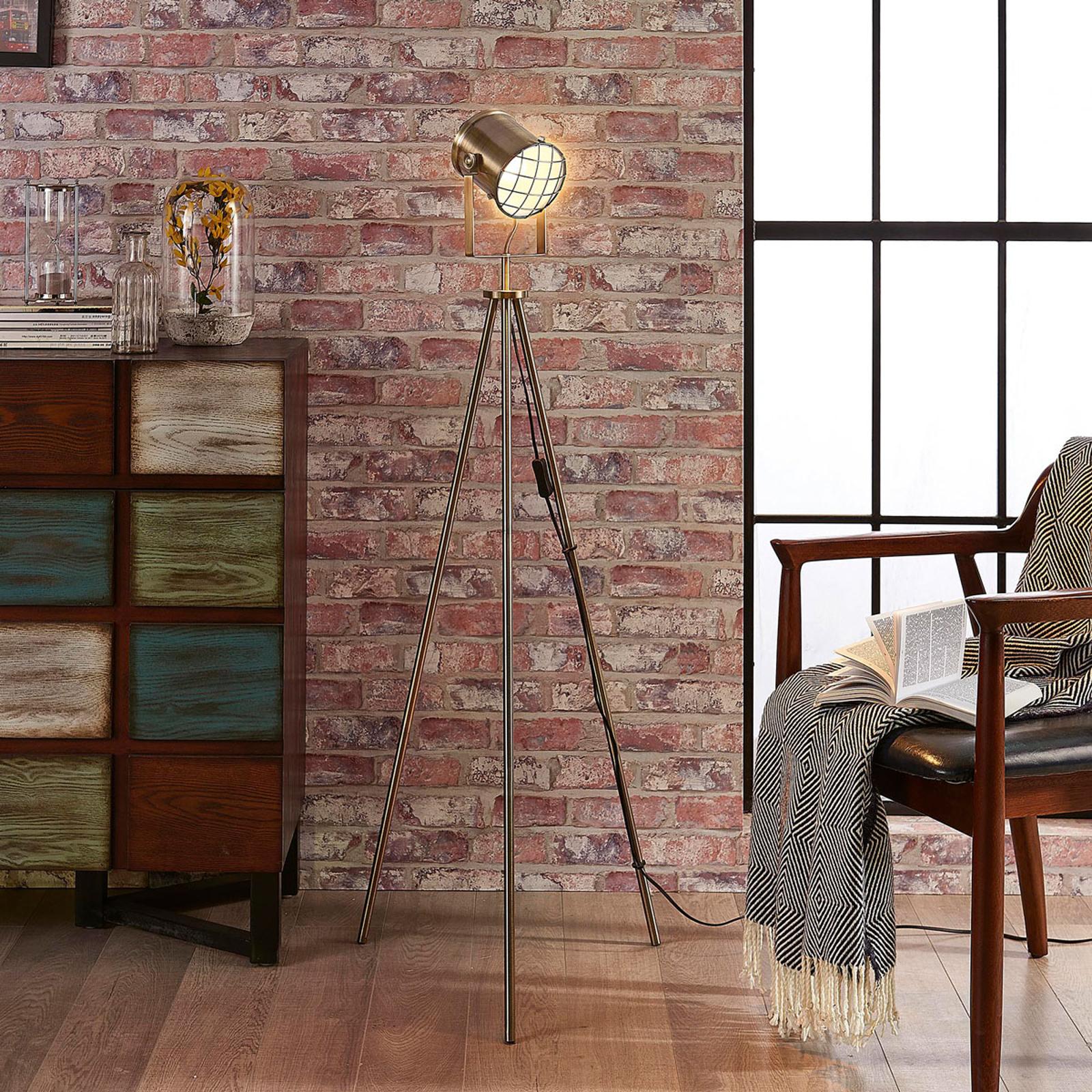 Trójnożna lampa stojąca Ebbi w stylu industrialnym