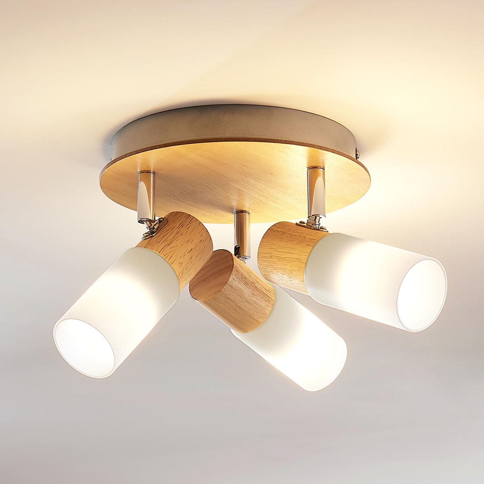 Houten LED plafondlamp Christoph, 3 lampen