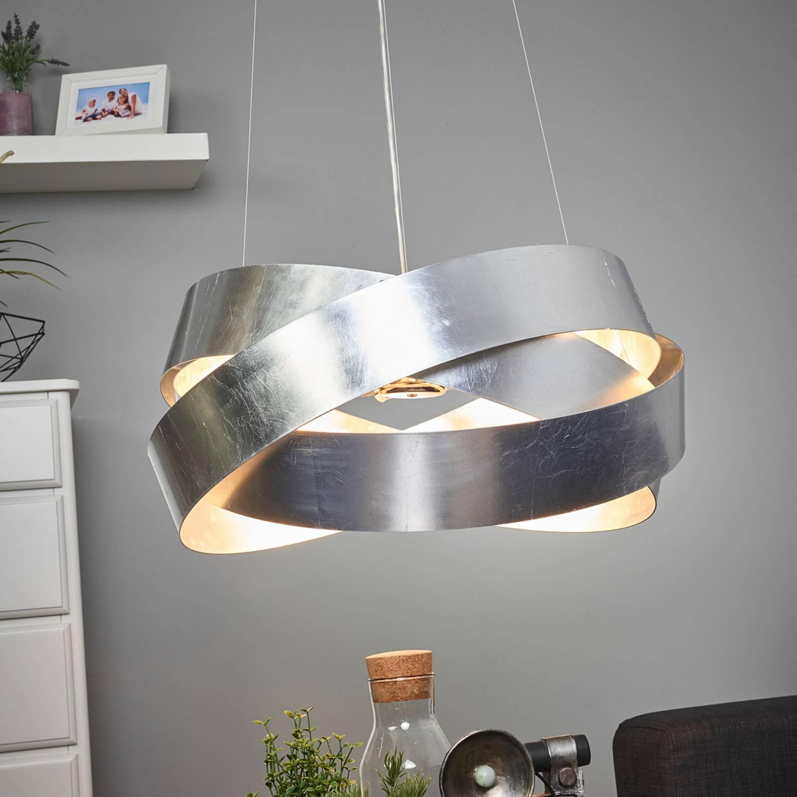Hanglamp Pura met bladzilver, 60cm, 8x G9