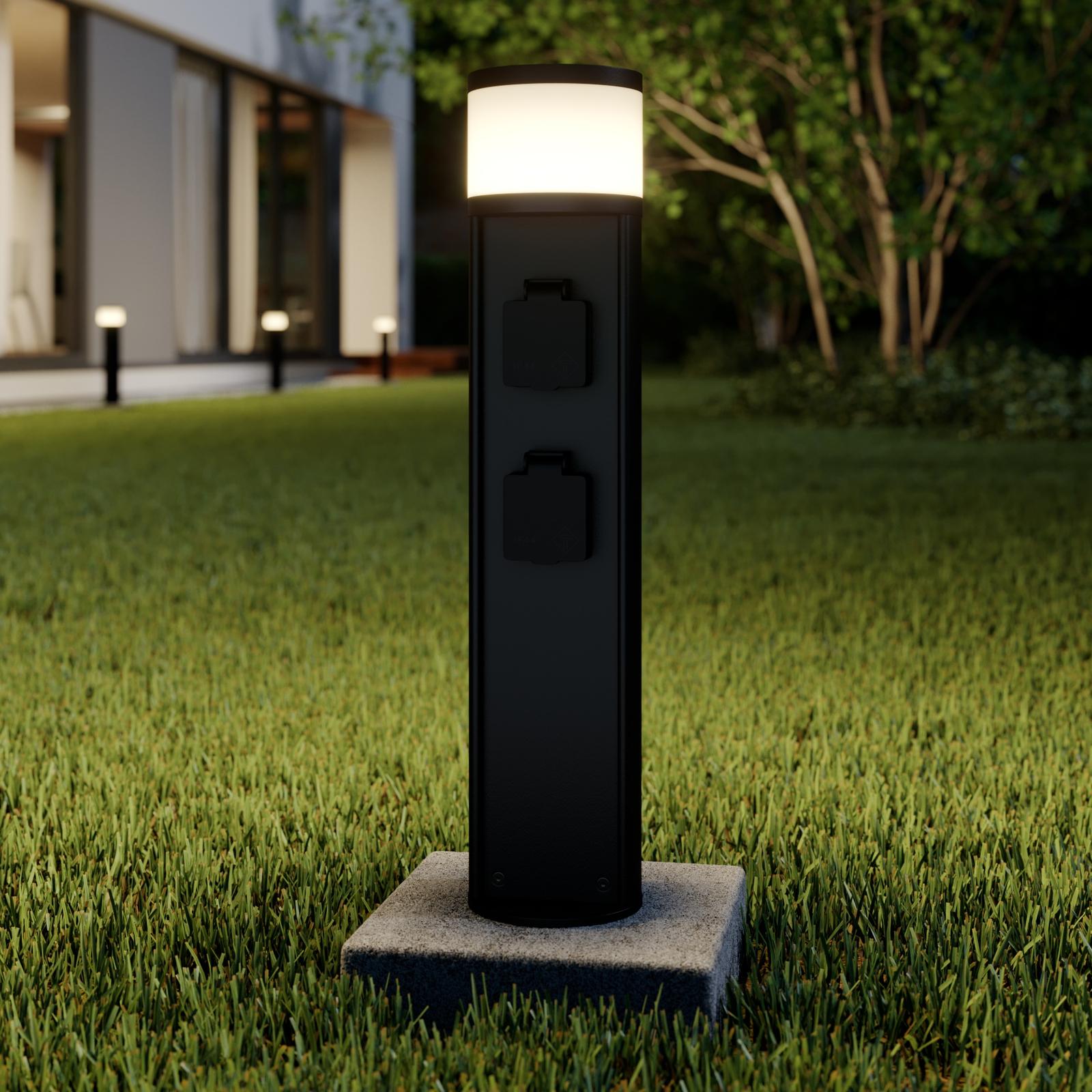 Lucande Corban LED sokkellamp met 2 stopcontacten