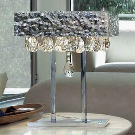 Lesklá stolní lampa MAGMA s křišťálovým závěsem