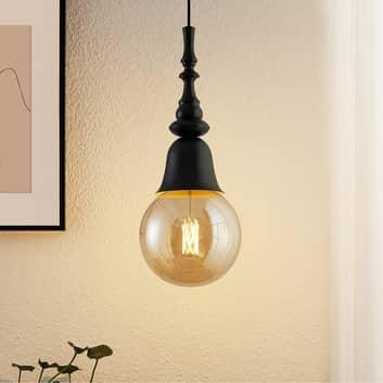 Lucande Gesja závěsné světlo, jeden zdroj, černá